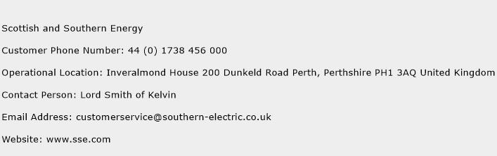 Scottish and Southern Energy Phone Number Customer Service