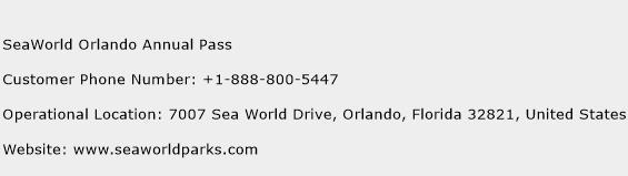 SeaWorld Orlando Annual Pass Phone Number Customer Service