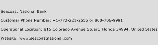 Seacoast National Bank Phone Number Customer Service