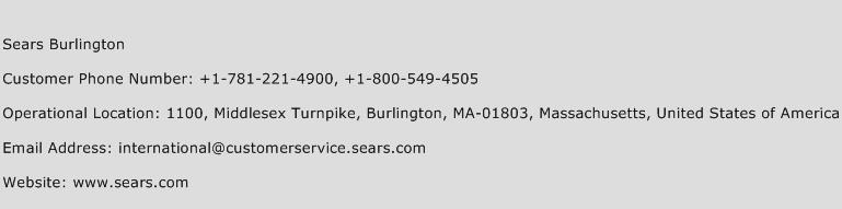 Sears Burlington Phone Number Customer Service