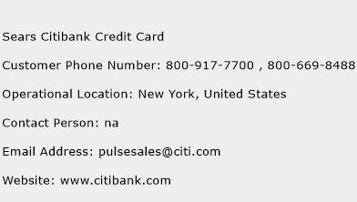 Sears Citibank Credit Card Phone Number Customer Service