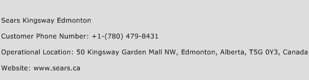 Sears Kingsway Edmonton Phone Number Customer Service