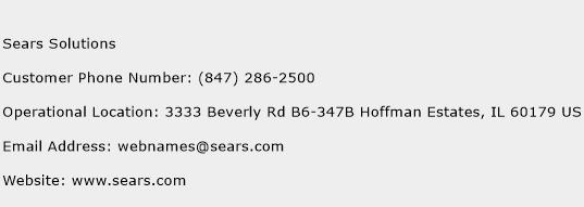 Sears Solutions Phone Number Customer Service