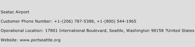 Seatac Airport Phone Number Customer Service