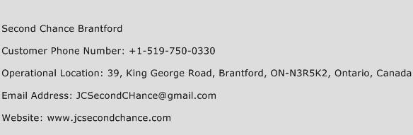 Second Chance Brantford Phone Number Customer Service