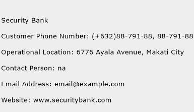 Security Bank Phone Number Customer Service