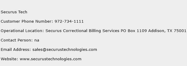 Securus Tech Phone Number Customer Service