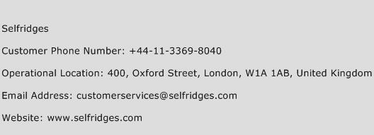 Selfridges Phone Number Customer Service