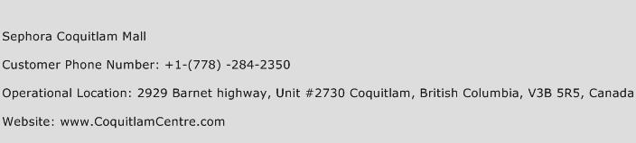 Sephora Coquitlam Mall Phone Number Customer Service