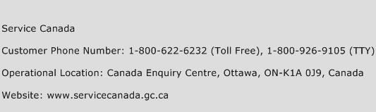 Service Canada Phone Number Customer Service