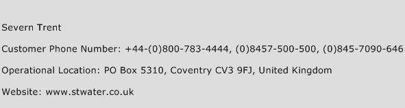 Severn Trent Phone Number Customer Service