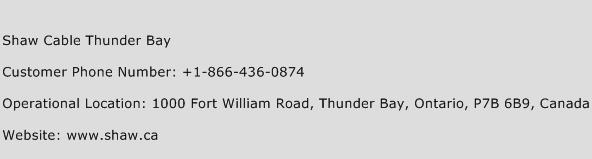 Shaw Cable Thunder Bay Phone Number Customer Service