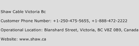 Shaw Cable Victoria BC Phone Number Customer Service