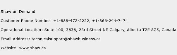 Shaw on Demand Phone Number Customer Service