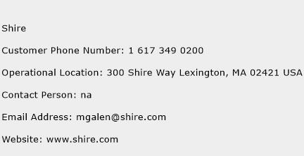 Shire Phone Number Customer Service