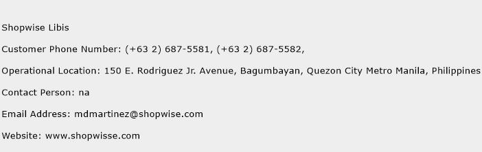 Shopwise Libis Phone Number Customer Service