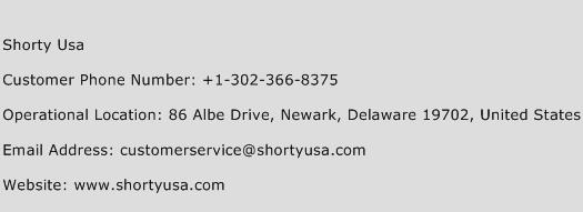 Shorty Usa Phone Number Customer Service