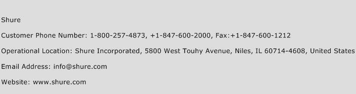 Shure Phone Number Customer Service