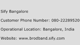 Sify Bangalore Phone Number Customer Service