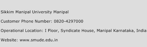 Sikkim Manipal University Manipal Phone Number Customer Service