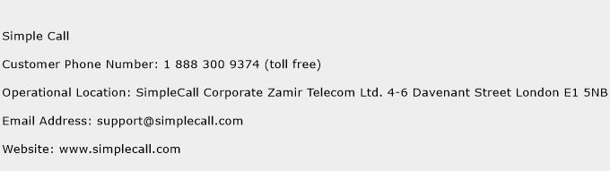 Simple Call Phone Number Customer Service