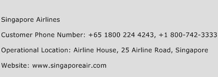 Singapore Airlines Phone Number Customer Service