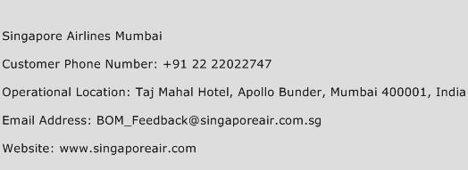 Singapore Airlines Mumbai Phone Number Customer Service