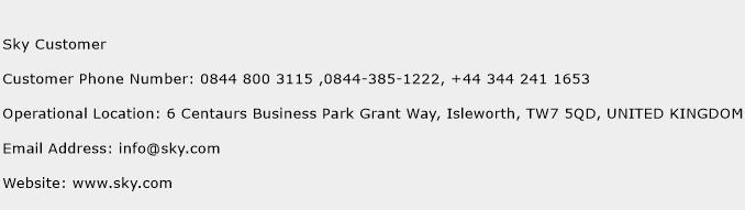 Sky Customer Phone Number Customer Service