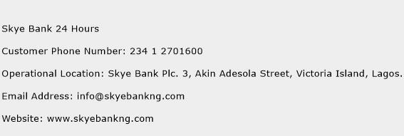 Skye Bank 24 Hours Phone Number Customer Service