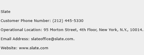 Slate Phone Number Customer Service