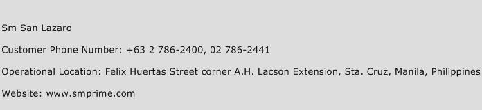 Sm San Lazaro Phone Number Customer Service