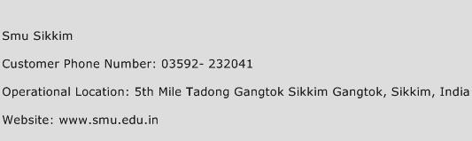 Smu Sikkim Phone Number Customer Service