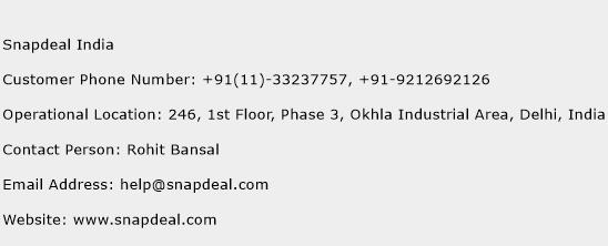 Snapdeal India Phone Number Customer Service