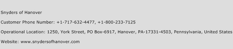 Snyders of Hanover Phone Number Customer Service