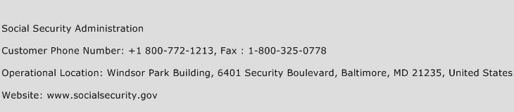 Social Security Administration Phone Number Customer Service