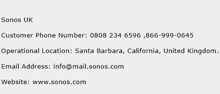 Sonos UK Phone Number Customer Service