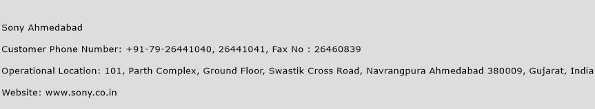 Sony Ahmedabad Phone Number Customer Service