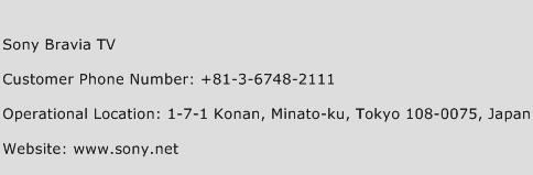 Sony Bravia TV Phone Number Customer Service