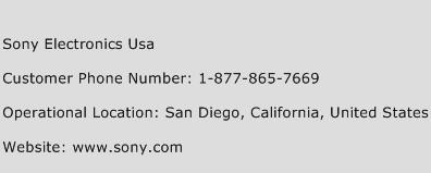 Sony Electronics USA Phone Number Customer Service