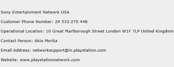 Sony Entertainment Network USA Phone Number Customer Service