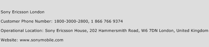 Sony Ericsson London Phone Number Customer Service