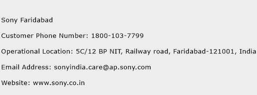 Sony Faridabad Phone Number Customer Service