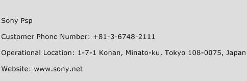 Sony PSP Phone Number Customer Service
