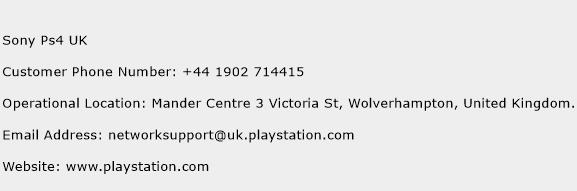Sony Ps4 UK Phone Number Customer Service