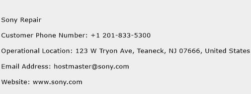 Sony Repair Phone Number Customer Service