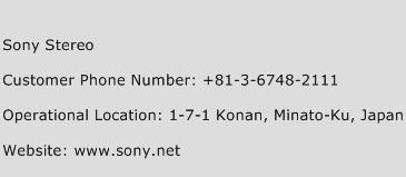 Sony Stereo Phone Number Customer Service