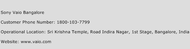 Sony Vaio Bangalore Phone Number Customer Service