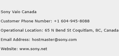 Sony Vaio Canada Phone Number Customer Service