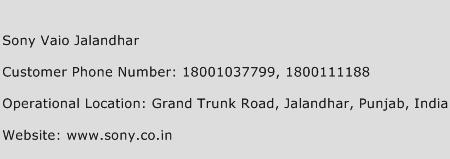 Sony Vaio Jalandhar Phone Number Customer Service