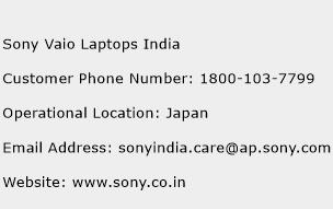 Sony Vaio Laptops India Phone Number Customer Service